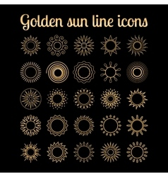 Golden sun thin line icons set vector