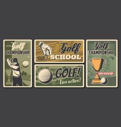 golf school champion sport tournament posters vector image