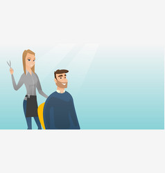 Hairdresser making haircut to hipster man vector