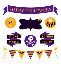 halloween design elements in purple and yellow vector image