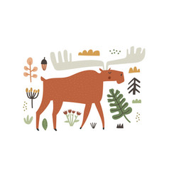Hand drawn horned moose character and forest vector