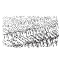 hand drawn sketch top view on library books vector image
