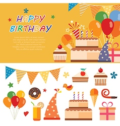 happy birthday flat icon vector image