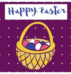 happy easter poster bascet wiith eggs card vector image