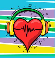 heart with music headphones cartoon concept vector image