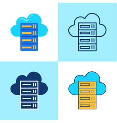 hosting icon set in flat and line style vector image