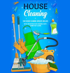 house cleaning equipment and tools vector image