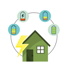 House with energy battery to care environment vector