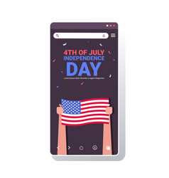 human hands holding usa flags people celebrating vector image