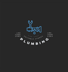 icon and logo of plumbing editable outline vector image