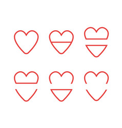 icon set hearts vector image