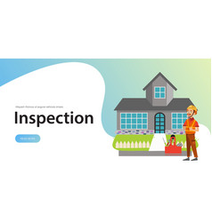 Inspector standing near house with tools poster vector