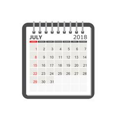 july 2018 calendar calendar notebook page vector image
