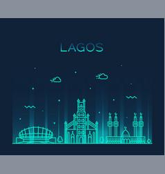 lagos skyline nigeria city linear style vector image