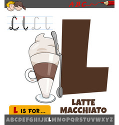 Letter l from alphabet with cartoon latte vector