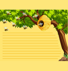 Line paper template witih bees flying vector