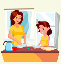 Little girl helping mother wash dishes in kitchen vector