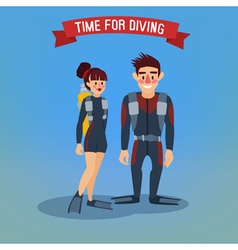 Man and Woman Divers Time for Diving Travel Banner vector image