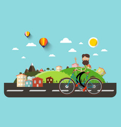 man on bicycle with flat design abstract vector image