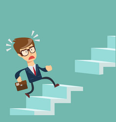 man running up the stairs vector image