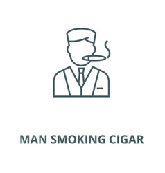 man smoking cigar line icon linear concept vector image