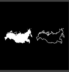 Map of russian icon set white color flat style vector