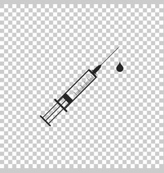 medical syringe with needle and drop icon isolated vector image