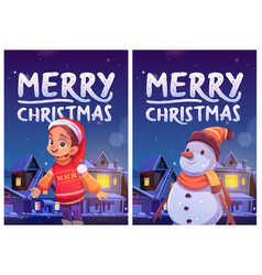 merry christmas flyers with cute girl and snowman vector image