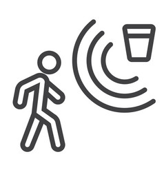 Motion detector line icon security and guard vector