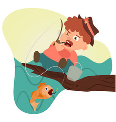 Moustache man on a tree fishing vector