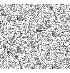 Nature seamless pattern Zen-tagle style vector image