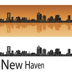 New Haven skyline in orange vector