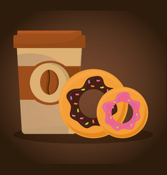 paper coffee cup donuts food vector image