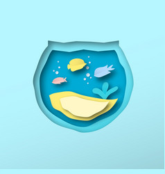 papercut tropical fish pet fishbowl isolated vector image