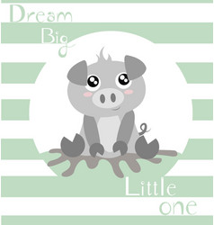 Piglet with baby green stripes vector