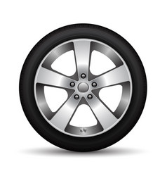 realistic car wheel alloy black tire on white vector image