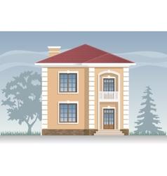 Residential house in beige vector