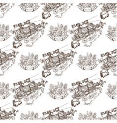 seamless pattern from outline drawings of arms in vector image