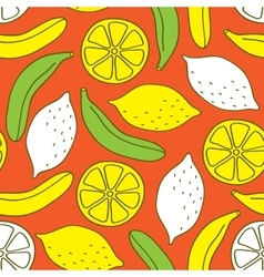 Seamless pattern of bananas and lemons vector image