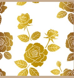 seamless pattern with roses garden on gold color vector image