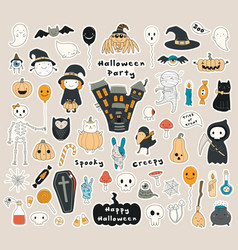 Set kawaii halloween stickers vector
