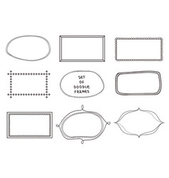 set of 9 doodle frames on white background vector image