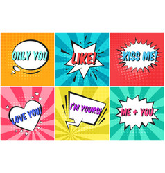 set of cute color valentines retro speech bubbles vector image