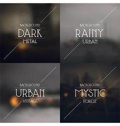 Set of dark urban blurred backgrounds vector