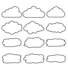 set of different cloud line icons vector image