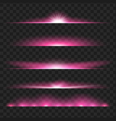Set of purple glowing light effect isolated on vector