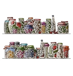 Set pickle jars with fruits and vegetables vector