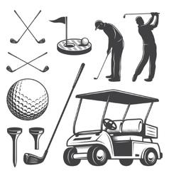 Set vintage golf elements vector