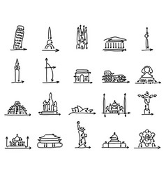 set world landmarks signs made from arrow vector image