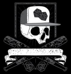 Skull with cap vector